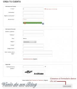 Formulario de registro en Smowtion