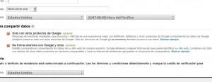 Formulario para crear nueva cuenta en Google Analytics