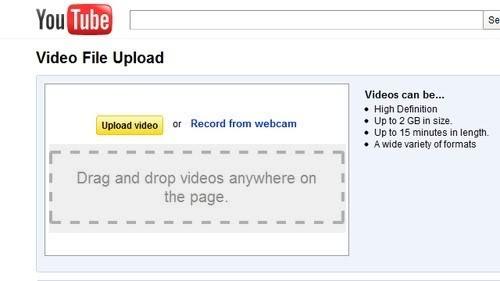 Interfaz para subir videos de Youtube usando HTML5